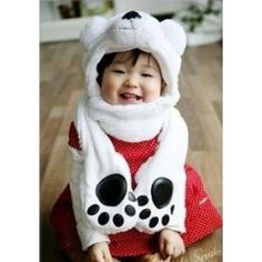 Polar Bear Animal Hat Mufflers with Mittens $15.84