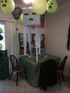 Our minecraft party decor
