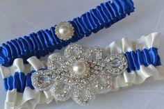 Wedding Garter Set - Royal Blue Garters And Ivory Satin With Rhinestone Embellishments, Garter Belts, Bridal Garter Set