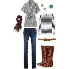 gray with nautical stripe shirt, scarf with contrasting pattern, boot/belt in browns, and a hint of teal in the earring. love.