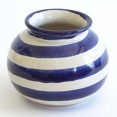 Blue Striped Round Vase