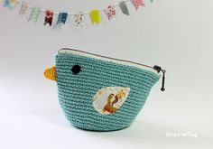 Bird Pouch / Crocheted little bag / Cosmetic purse / by Heartattag