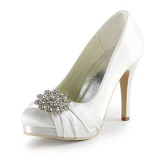 """Dyeable Gorgeous 4"""" Crystal Brooch Ruffle Peep-toe Pumps - White Satin Wedding Shoes (11 colors)"""
