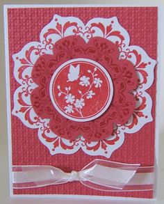 handmade card ... red and white ... lovely floral medallion ... Daydream Medallions cut with Floral Framelits ... luv the center stamp on this one!! ...Stampin' Up!
