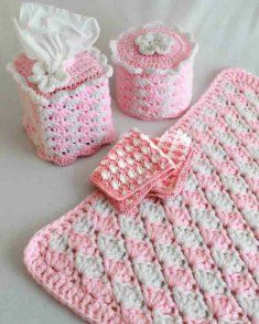 #182 Quick and Easy Shell Bath Set Crochet Pattern. http://www.maggiescrochet.com/quick-and-easy-shell-bath-set-crochet-pattern-p-325.html#.UQb6rG80WSo  This beautiful bathroom set can be worked up in any color to match your decor. This pretty pastel is wonderful as all of our thoughts are turning to Spring!!! Guests will smile when they see how welcoming your Powder Room is. These also would be a great gift for anyone on your list.