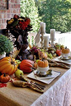 fall table setting - outside ........ how nice
