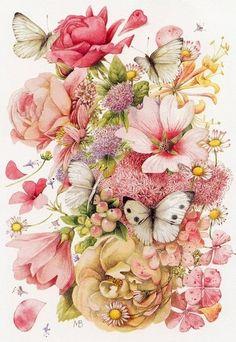 butterfli, quilt tattoo, pink flowers, natur artist, flowers vintage illustration, nature tattoos, flower artwork, flower butterfly tattoo, rose butterfly tattoo