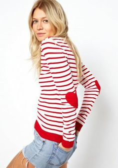 Red White Striped Heart Elbow Patch Sweater