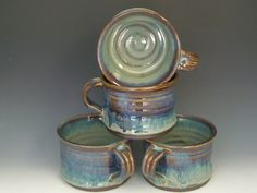 Hand thrown stoneware pottery chile/soup bowls