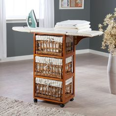 Wood Wicker Ironing Board Center with Baskets - Ironing Boards and Accessories at Hayneedle