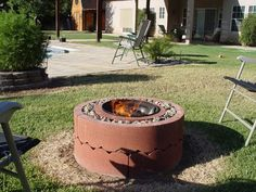 Picture of $50 fire pit using concrete tree rings.