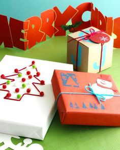 Wrapping paper ideas for kids or adults. Drawings, cutouts, stamps, pompoms, and more. Click for more wrapping ideas!