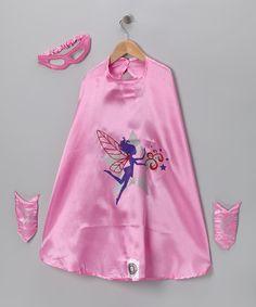 Look what I found on #zulily! Pink Fairy Superhero Cape Set - Kids #zulilyfinds