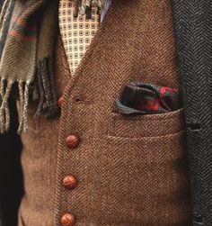 Brown tweed vest, tie and scarf: #fall #men