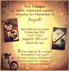 "APRIL BELL""S Trunk SHOW with copper jewelry is perfect for that UNIQUE hand-crafted CHRISTMAS gift!!!! She will Hand-stamp names/dates on her pieces NEXT FRIDAY the 13th at ANYart's ""301 LOFT"".......just in time for CHRISTMAS!!! visit ANYart NOW located at Lafayette and Church st at 301 Lafayette(above A+ ins)  Visit https://www.facebook.com/pages/AnyART-Downtown-Gallery/297462456948154"
