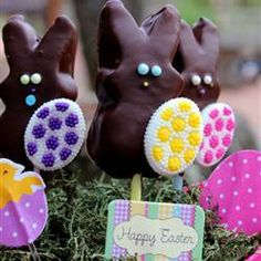 Instant Chocolate Covered Bunnies (On a Stick) | Here's a perfect use for all of that Easter candy: have the kids dip marshmallow bunnies in chocolate!
