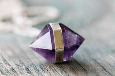 Banded Amethyst Necklace Fine Silver by GATHERJEWELRY on Etsy, $72.00