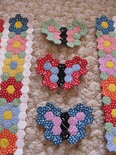 penny rugs, english paper piecing, craft, butterflies, hexagon quilt