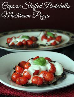 Caprese Stuffed Portobello Mushroom Pizza 275 Calories and 7 Weight Watchers Points+...um YUMMMMMM!!!