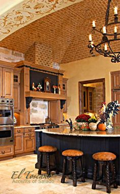 Rooster Decorating in a Napa Style Kitchen... Not a fan of the Rooster theme, but love the design of the kitchen