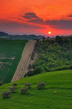 Sunset in Tuscany, Italy.