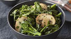 Brocoli rabe with sauteed with cremini mushrooms