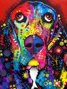 Basset Hound Painting - Dean Russo color art, black dogs, hound paint, rainbow, dog paintings