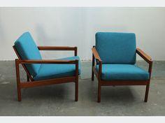 midcentury blue chair