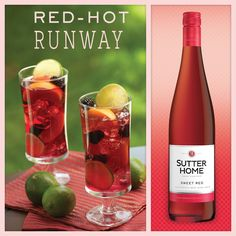 Give your fall evenings a little sparkle. ¾ cup Sutter Home Sweet Red Wine. ¼ cup lemon-lime soda. Ice. Combine ingredients. Garnish with a lime.