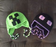 Crochet Creeper and Enderman. Minecraft hats