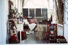 Front Porch Hot Cocoa Bar, Hot Cocoa Party, Winter Porch Party, Porch Swing, Ruffled Burlap Tablecloth