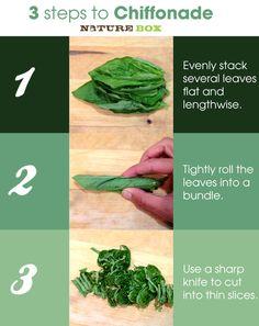 Easy, fast way to Chiffonade Herbs.