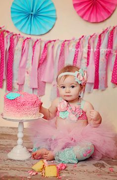 Tutu, Pink, Aqua, shirt, top, Headband, Birthday, outfit, 1st birthday, Girl, Newborn, Infant, cake smash, photo prop. $35.00, via Etsy.