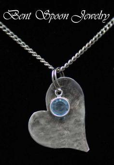 Vintage Spoon Jewelry Heart Birthstone by Bentspoonjewelry on Etsy, $19.00