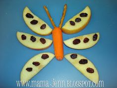 Butterfly Snack fun food, kid snacks, apple slices, bug, apples, snack foods, insect crafts, kids healthy snacks, butterfli snack