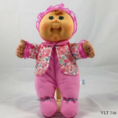 Cabbage-Patch-Pink-Jammies-Green-Eyes-Blond-Stuffed-Doll-Appalachian-Artworks