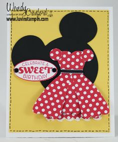 Minni Mouse Dress Birthday Card  Check out my blog for instructions on how to make this card: http://www.luvinstampin.com/2013/11/minni-mouse-dress-birthday-card.html