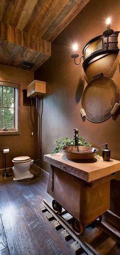 Bellegrey, LLCD Interiors  #rustic bathroom