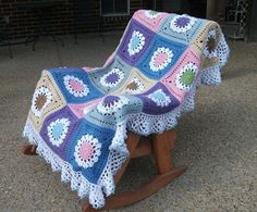 Spring Fling throw, using Flower Burst Square, crocheted by Pammy Sue  #crochet #afghan #blanket
