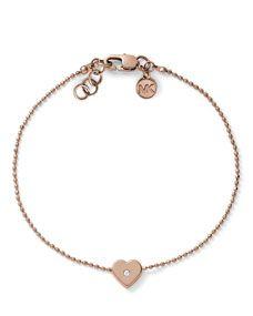 Michael Kors Heart-Charm Bead Bracelet, Rose Golden