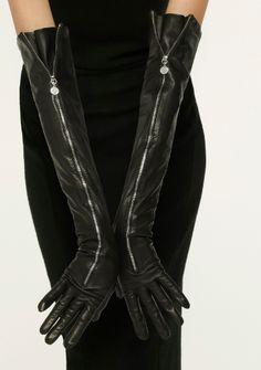 vivre.com black leather long zippered gloves