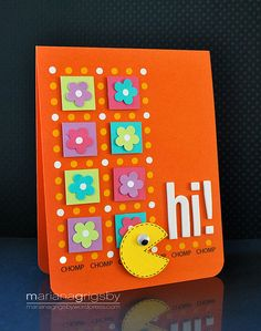 bright and beautiful handmade card: Hi! by maropeusa, via Flickr ... luv the bright tropical colors and the neat  layout ... Silhouette cutting ...