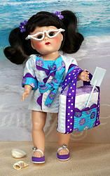 "Ginny's ~GoiN' To THe BeaCH!~ in Aqua and Purple! A 5 PC hand tailored ORIGINAL design outfit for Vintage or Vintage Reproduction Ginny 7.5"" dolls. Also fits 7.5"" Muffie, Ginger, Madame Alexander before the years 2000. You get the sun/swimsuit, the beachcoat/jacket/coverup, the fully lined matching beach bag, a terry beach towel in Ginny's size, the white repro sunglasses. At my website www.karmelapples.com now. THIS COLOR SOLDOUT, SORRY."