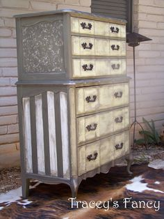 two toned shabby grey chest of drawers/highboy