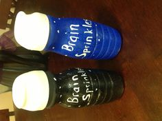 """Recycled coffee creamer bottled filled with rice.  Glue lid and paint bottles solid color and then second coat with sparkle paint...presto!! Instant """"brain sprinkles!"""" My daughter made these for her economics fair at school"""