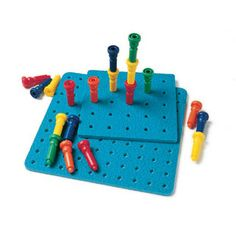 $17.00 - Peg It!•The Tall Stacker Pegs & Pegboard features easy to grip unbreakable pegs that are great for:•  sorting• counting• adding•  subtracting • making colorful designs• This set comes with 25 pegs and 1 8 25 hole board. Want more toys Made in the USA? Click here and check it out..