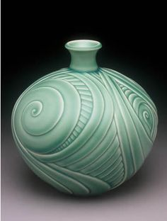 lynne mead carved vessel green spiral pottery ceramics clay