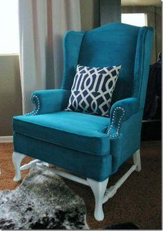 blue, colors, painted chairs, upholstered chairs, painted fabric, chair makeover, furniture, old chairs, wingback chairs