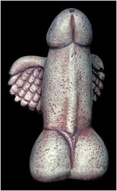 This happy little winged phallus was discovered in a temple of Dionysus on Delos Island, Greece, 300 BCE.