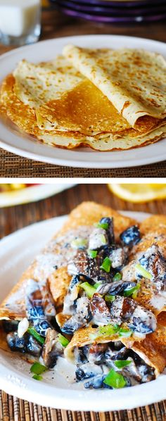 Crepes with creamy chicken and mushroom filling - taste like they came out of a French bakery and so easy to make!